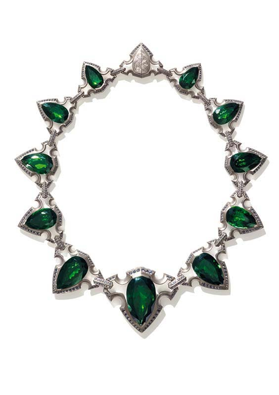 10: Necklace, White Gold, Tourmalines, Spinels