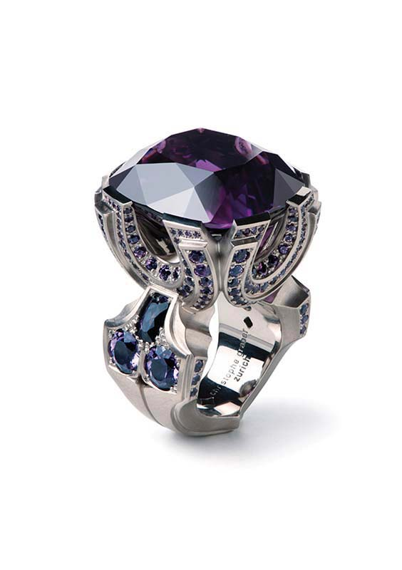 101: Ring, White Gold, Amethyst, Sapphires, Spinels