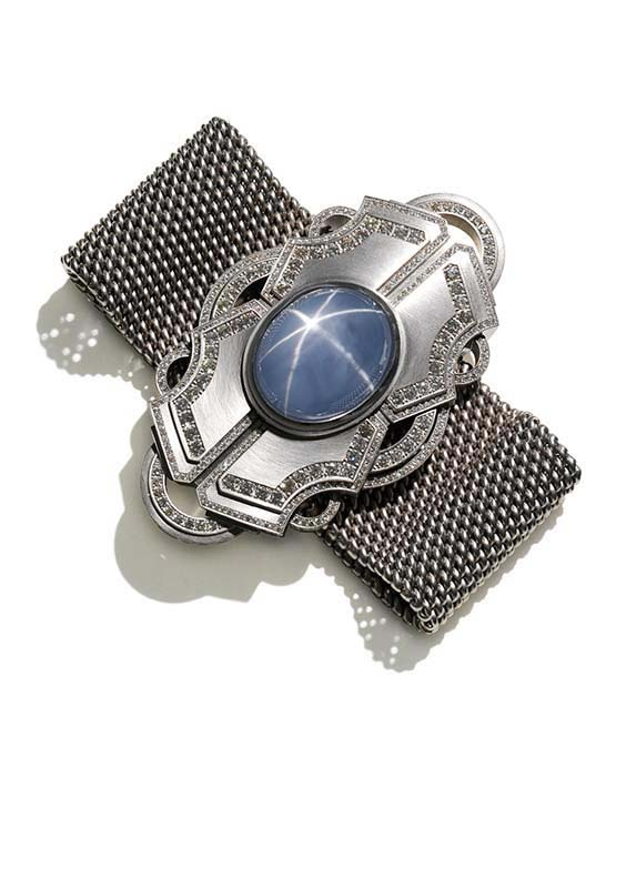 153: Bracelet, White Gold, Star Sapphire, Diamonds