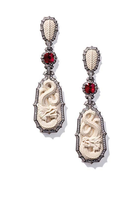 88: Ear Pendants, White Gold, Rubies, Diamonds, Mammoth Bone