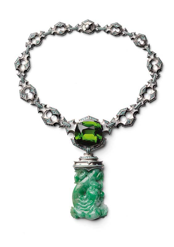 92: Necklace, White Gold, Peridot, Jade, Paraiba Tourmalines